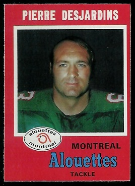 Pierre Desjardins 1971 O-Pee-Chee CFL football card
