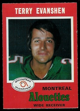 Terry Evanshen 1971 O-Pee-Chee CFL football card