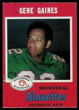 Gene Gaines 1971 O-Pee-Chee CFL football card