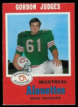 Gordon Judges 1971 O-Pee-Chee CFL football card