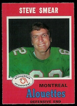 Steve Smear 1971 O-Pee-Chee CFL football card