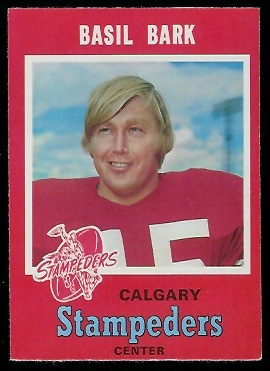 Basil Bark 1971 O-Pee-Chee CFL football card