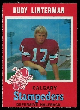 Rudy Linterman 1971 O-Pee-Chee CFL football card
