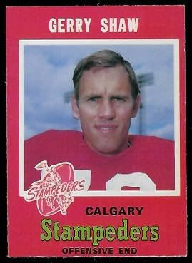 Gerry Shaw 1971 O-Pee-Chee CFL football card