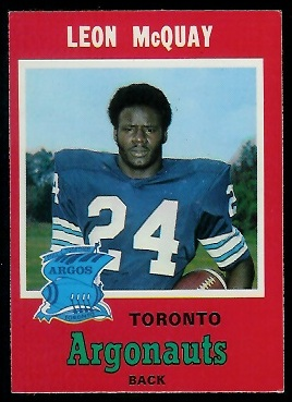 Leon McQuay 1971 O-Pee-Chee CFL football card