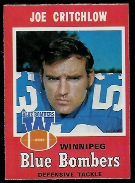 Joe Critchlow 1971 O-Pee-Chee CFL football card