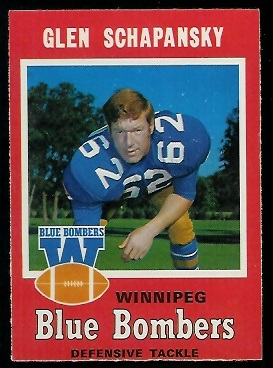 Glen Schapansky 1971 O-Pee-Chee CFL football card
