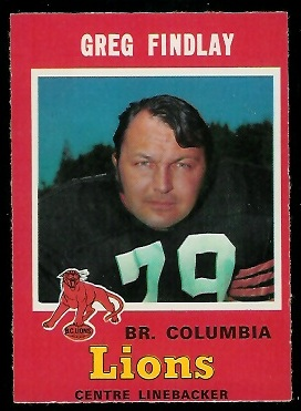 Greg Findlay 1971 O-Pee-Chee CFL football card