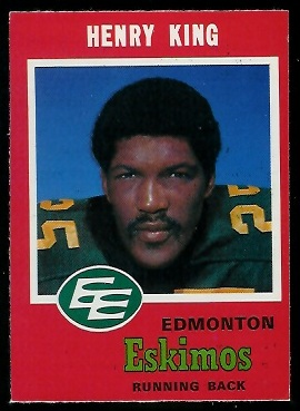Henry King 1971 O-Pee-Chee CFL football card