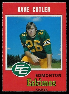 Dave Cutler 1971 O-Pee-Chee CFL football card
