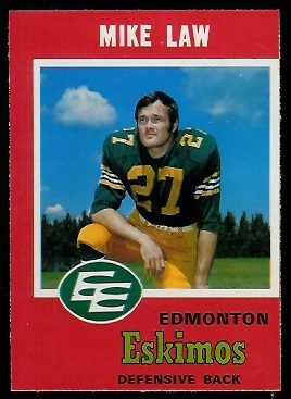 Mike Law 1971 O-Pee-Chee CFL football card