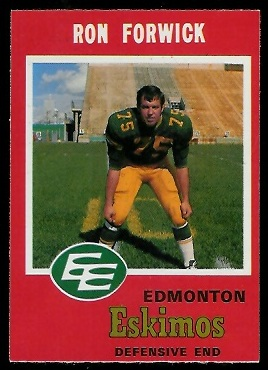 Ron Forwick 1971 O-Pee-Chee CFL football card