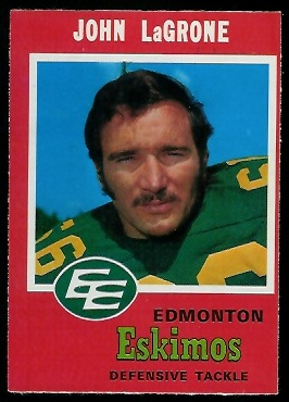 John LaGrone 1971 O-Pee-Chee CFL football card