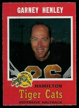 Garney Henley 1971 O-Pee-Chee CFL football card