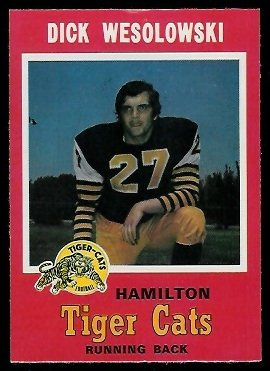 Dick Wesolowski 1971 O-Pee-Chee CFL football card