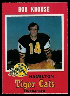 Bob Krouse 1971 O-Pee-Chee CFL football card