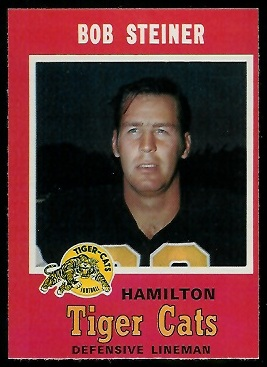 Bob Steiner 1971 O-Pee-Chee CFL football card