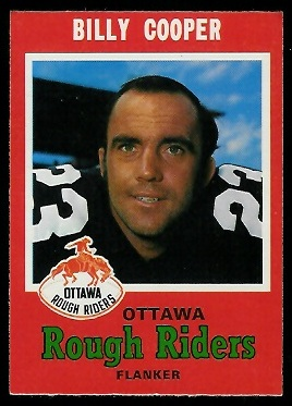 Billy Cooper 1971 O-Pee-Chee CFL football card