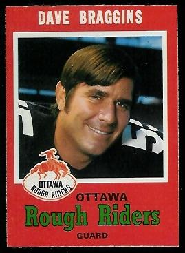 Dave Braggins 1971 O-Pee-Chee CFL football card