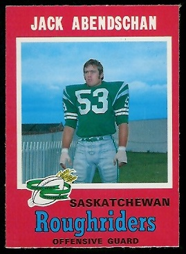 Jack Abendschan 1971 O-Pee-Chee CFL football card