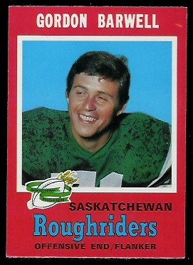 Gordon Barwell 1971 O-Pee-Chee CFL football card