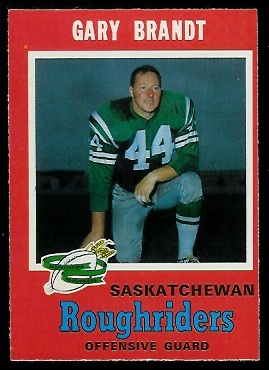 Gary Brandt 1971 O-Pee-Chee CFL football card