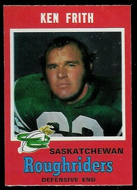 Ken Frith 1971 O-Pee-Chee CFL football card