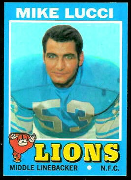 Mike Lucci 1971 Topps football card