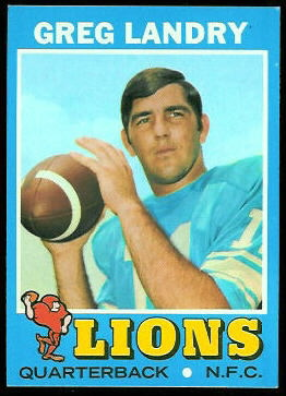 Greg Landry 1971 Topps football card