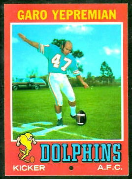 Garo Yepremian 1971 Topps football card