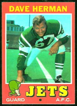 Dave Herman 1971 Topps football card
