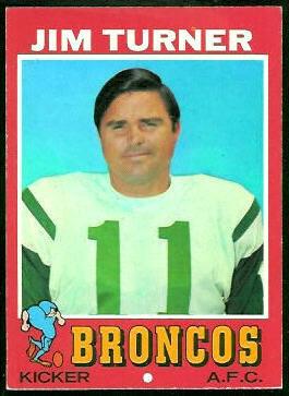 Jim Turner 1971 Topps football card
