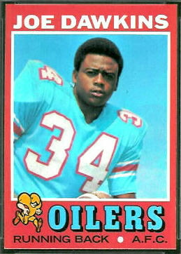Joe Dawkins 1971 Topps football card