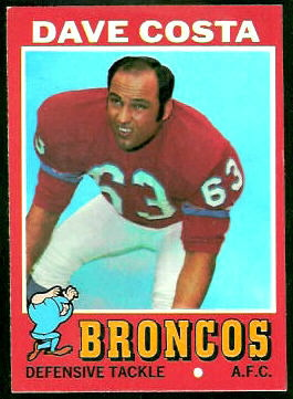 Dave Costa 1971 Topps football card