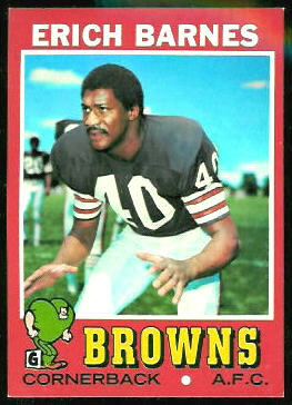 Erich Barnes 1971 Topps football card