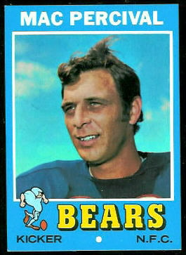 Mac Percival 1971 Topps football card