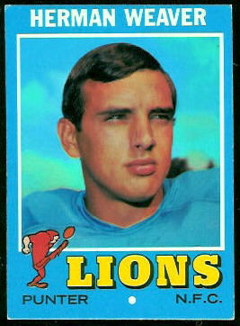 Herman Weaver 1971 Topps football card