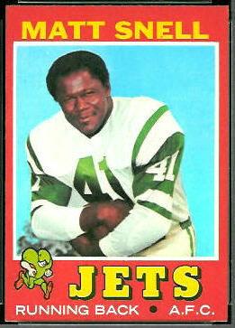 Matt Snell 1971 Topps football card