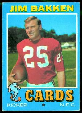 Jim Bakken 1971 Topps football card