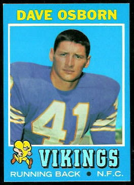 Dave Osborn 1971 Topps football card