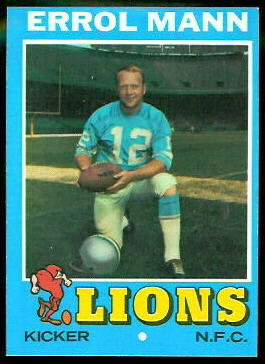 Errol Mann 1971 Topps football card