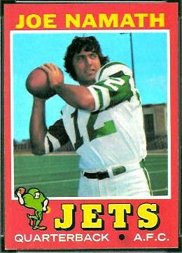 Joe Namath 1971 Topps football card