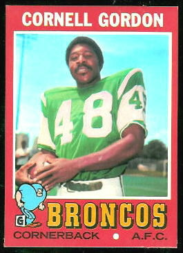 Cornell Gordon 1971 Topps football card