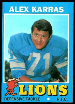 Alex Karras 1971 Topps football card