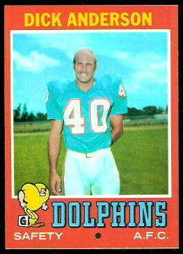 Dick Anderson 1971 Topps football card