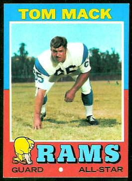 Tom Mack 1971 Topps football card