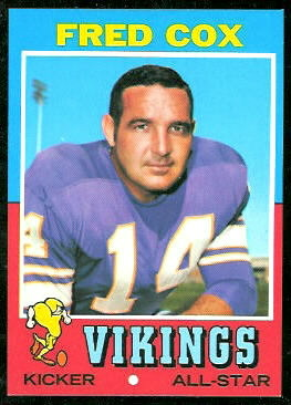 Fred Cox 1971 Topps football card