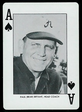Bear Bryant 1972 Alabama Playing Cards football card