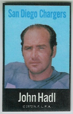 John Hadl 1972 NFLPA Iron Ons football card