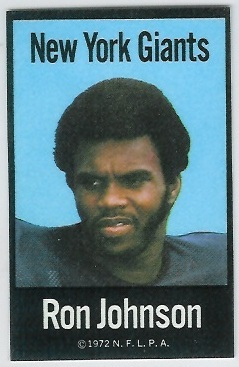 Ron Johnson 1972 NFLPA Iron Ons football card